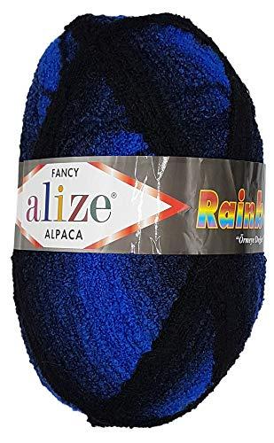 Rainbow Fancy Alpaka 350 Gramm Strickwolle Alize, Wolle einfarbig oder mit Farbverlauf, 875 Meter Lauflänge (blau schwarz 1250)