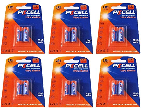 12 x LR1 / N / Lady 1,5V ( 6 Blister a 2 Batterien ) Quecksilberfreie Alkaline Batterien 4001, 4901, MX9100, 910A Markenware PKCELL