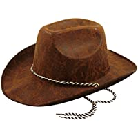 Leather Look Brown Felt Adults Cowboy Hat - Pack of 2 by Partyrama