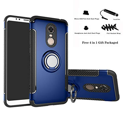 Labanema Xiaomi Redmi 5 Plus Funda, 360 Rotating Ring Grip Stand Holder Capa TPU + PC Shockproof Anti-rasguños teléfono Caso protección Cáscara Cover para Xiaomi Redmi 5 Plus - Azul