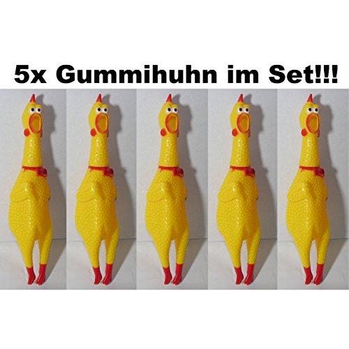 5x Hundespielzeug Gummihuhn Huhn Quietsch Chicken Hahn Hund Tier Spielzeug 17cm