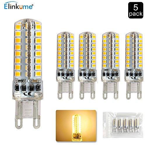 MUMENG 5er-Pack 5W G9 LED Lampe, Ersetzen 50W Halogenlampe, Warmweiß 3000K 400Lumens, 360 Grad Strahl Winkel Ra>80, AC 220-240V Energieeinsparung LED Birne -