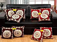 FAB NATION Buy 5 Get 5 Free (16X16 inches) Cushion Covers - Embroidery Dupion Silk Fabric (Multi)