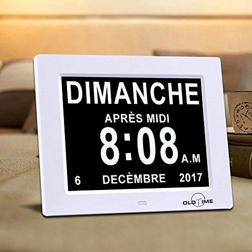 OLDTIME 8' Pouce LCD Horloge Numérique Calendrier, avec Date Jour Et Heure Horloge Non-Abrégée Auto Dimming...