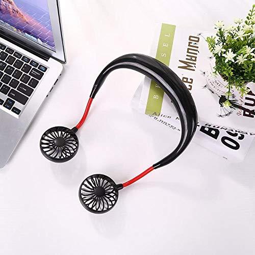 Tragbare tragbare Mini-Fans Mini-USB-wiederaufladbare Hand Free Fan Persönlicher Nackenbügel-Fan für Reisen Outdoor Sport Cooler Lüfter (Color : Black) (Wiederaufladbare Fan)