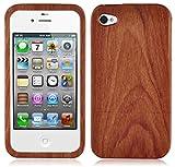 Cadorabo – Hard Cover Design Bois Naturel pour  Apple iPhone 4 / iPhone 4S  – Housse Case Bumper Coque 100% BAMBOU ROSA
