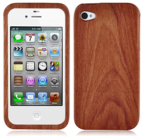 Cadorabo Hülle für Apple iPhone 4 / iPhone 4S - Hülle aus Rosen Bambus - Handyhülle aus 100% Echtholz - Case Cover Schutzhülle Hard Case -