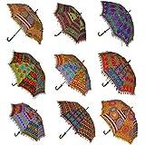 Hecho a mano indio funda algodón Fashion multicolor paraguas bordado Boho paraguas sombrilla 10piezas Lot