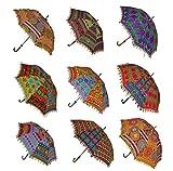 Sophia Art - Paraguas decorativo indio de algodón hecho a mano, diseño de algodón a la moda bordado bohemio, paraguas de playa, paraguas de protección UV, sombrilla paraguas para el sol (10 unidades)