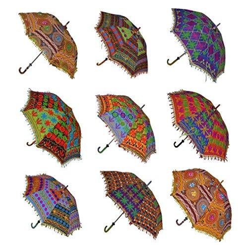 indischen Dekorative Baumwolle Handgemachter Designer Baumwolle Fashion Bunt Regenschirm Stickerei Boho Regenschirme Sonnenschirm Sonnenschirm 10 PCS Viel