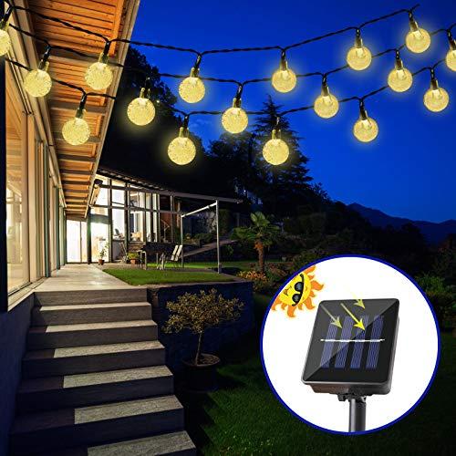 Solar Lichterkette LED 4,5M 30 LEDs Kristall Kugeln 8 Modi Beleuchtung, IP65 wasserdicht warmweiß Energiesparend Innen und Außen, Deko für Garten, Bäume, Terrasse, Partys, Hochzeiten, Weihnachten