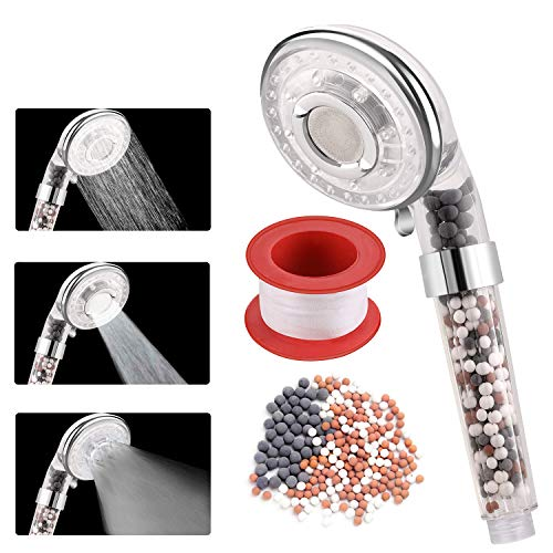 Rovtop Soffione doccia a soffione per doccia - Filtrazione con risparmio idrico ad alta pressione con un ulteriore pacchetto di riserva (3 modalità + modalità di arresto acqua)