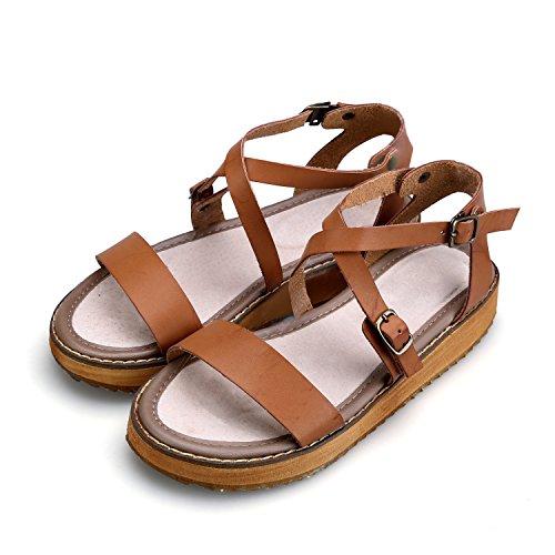 Smilun Femme Sandales Romaine Bout ouvert Sandales Chaussures Croix lanière Gladiateur Sandales Compensées Brun