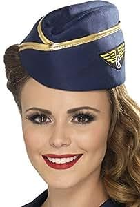 Smiffy's Air Hostess Hat - Blue/Gold
