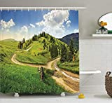 keiwiornb Apartment Decor Duschvorhang Set, Hillside Meadow Cloudy Sky Fence Near The Cross Road with Fir Trees on Both Sides, Bathroom Accessories,60W X 72L Inches