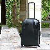 WANLN Gepäck Medium Koffer 4 Räder Leichtes Handgepäck ABS und PC Hard Shell Trolley Reise-Koffer,Schwarz,24inches