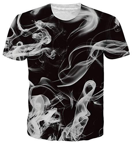 Adicreat Teen Jungen Männer Cool 3D Rauch Kurzarm T-Shirt