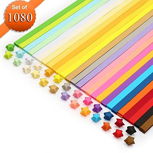 n, Origami-Papier, Meiso 1080 Blätter doppelseitiges Origami Sterne Papier - 27 Farben Dekoration Papierstreifen (Paper Crafts Halloween-dekoration)