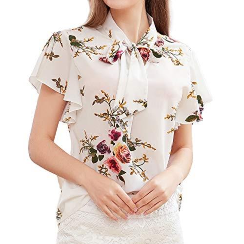 Bow Knot Neck Printing Shirt Casua Print Top Lose Bluse ()