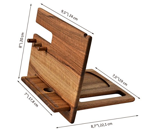 MyFancyCraft Wood Phone Docking Station Dark Walnut with Key Holder, Wallet Stand and Watch Organizer Men's Gift Compatible with any Phone For Daily Use Handmade (Walnut Hooks)
