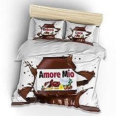 Idea Regalo - Babloo Chocolate Amore Mio Lenzuolo Matrimoniale (240x260 cm) e Federe Policotone