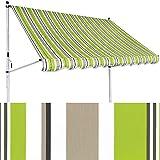 Klemm-Markise 2 x 1,2 m grün-braun (Profilfarbe: Weiß) Balkonmarkise Spannmarkise Sonnenschutz Klemmmarkise