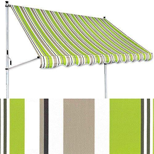 Klemm-Markise 3 x 1,5 m 3 x 1,5 m grün-braun (Profilfarbe: Weiß) Balkonmarkise Spannmarkise Sonnenschutz Klemmmarkise