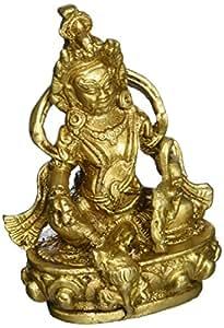 Kuber Idol Hindu God of Wealth for Diwali Puja Brass Statue 4 Inch