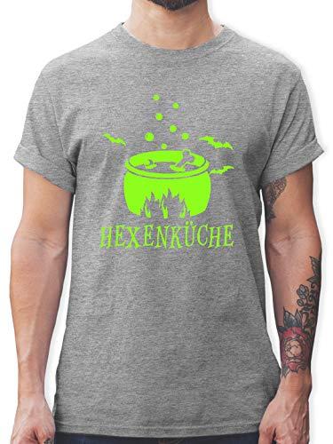 Küche - Hexenküche - L - Grau meliert - L190 - Herren T-Shirt Rundhals