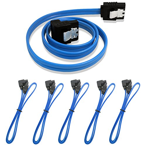 Produktbild SATA Kabel 6.0 Gbps 90°blau 45cm,  5 Stück