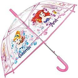 Parapluie Princesses Disney Fille - Parapluie Transparent Cloche Enfant - Impression Cendrillon Raiponce et Ariel - Solide Antivent et Long - Ouverture Automatique - 5/7 Ans- Diamètre 74 cm - Perletti