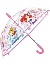 Paraguas Princesas Disney Niña - Paraguas Transparente de Burbuja con estampado Ariel Cenicienta y Rapunzel - Resistente, Antiviento y Largo - 5/8 Años - 74 cm de diámetro - Perletti