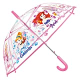 Paraguas Princesas Disney Niña - Paraguas Transparente de Burbuja con estampado Ariel Cenicienta y...