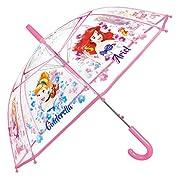 Ombrello Principesse Disney Bambina - Con stampa Cenerentola Ariel e Rapunzel - Ombrello lungo Cupola Trasparente in PVC e Antivento - Apertura Automatica - 5/8 Anni - Diametro 74 cm - Perletti