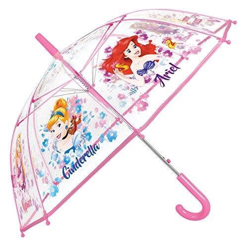 (Disney Prinzessinnen Kinder Schirm für Mädchen - Automatik Stockschirm mit Aschenputtel, Arielle, Rapunzel - Regenschirm mit Transparenter Kuppel - 5 bis 8 Jahre - Durchmesser 74 cm - Perletti)