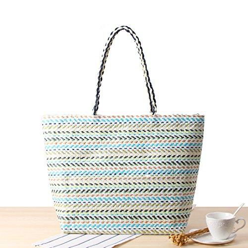 Otomoll Handgefertigte Weiblichen Gestreifte Handtasche Farbe Beutel Stroh Sommer Strand Schultertasche, Blau (Blau Gestreifte Handtasche)