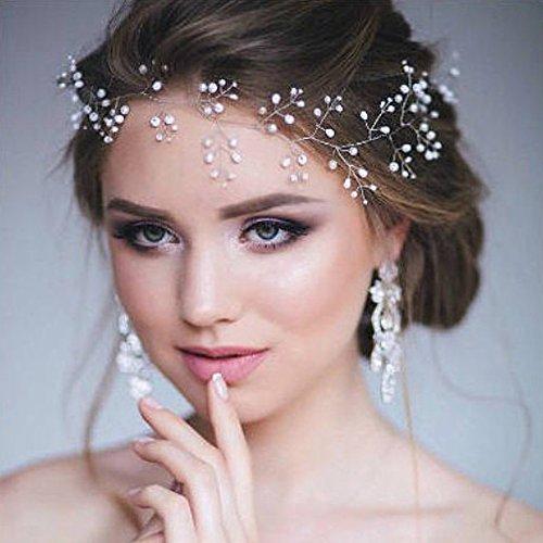 bands Brautschmuck Haarschmuck Vine Kristall und Perlen einfach Strassbesatz für Frauen und Mädchen (Silber) (Königin Der Diamanten-halloween-kostüm)