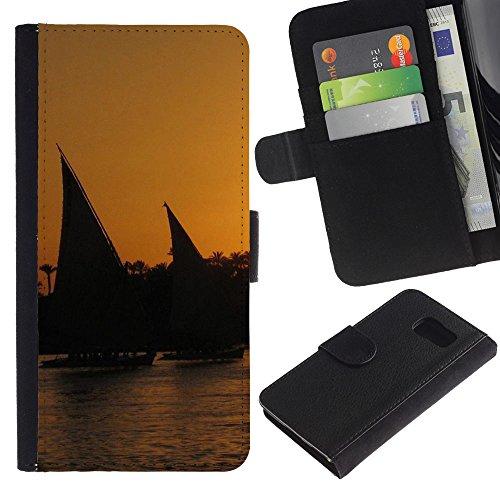 Lead-Star (Nature Sunset Sail) Colorful Portafoglio In Pelle Stampa Per Copertura Cassa Caso Case Pelle Per Samsung Galaxy S6 / SM-G920