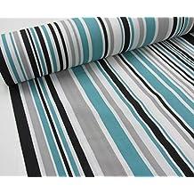 Confección Saymi Metraje 0,50 MTS Tejido loneta Estampada Ref. Rayas Arlequin Azul Negro