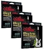 Alice Lot de 3cordes pour guitare électrique avec revêtement Calibre léger Ae530l .010-.046