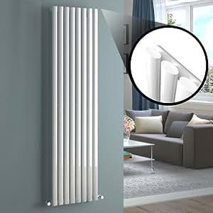 Milano Aruba - White Vertical Designer Radiator 1780mm x 472mm - Oval Vertical Column Rad - Luxury Central Heating Radiators Fixing Brackets included - 15 YEAR GUARANTEE!