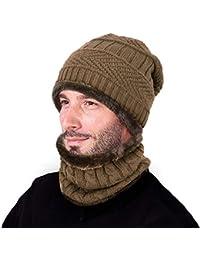 ZIOOER Cappello Uomo Invernale Berretto Uomo in Maglia con Sciarpa ec3988982515