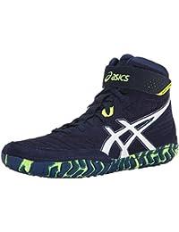 ASICS Zapato de lucha Aggressor 2 para hombres, EST Azul / Blanco / Amarillo intermitente, 15 M de EE. UU.