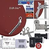 DUR-line 8 TN/2 Satelliten Set - Qualitäts-Alu-Satelliten-Komplettanlage - Select 85/90cm Spiegel/Schüssel Rot + Multischalter + 2xLNB - für 8 Receiver/TV [Neuste Technik, DVB-S2, 4K, 3D]