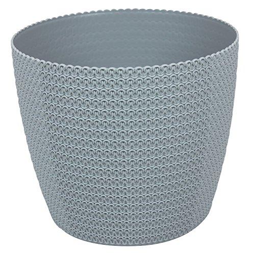 Blumentopf Kunststoff grau D 30,5 cm Muster Häkelkorb Deko Topf Blumenkübel