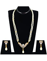 Spargz Designer Gold Plated Alloy Metal & Pearl Long Necklace Set For Women