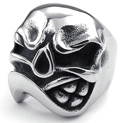 Gnzoe Jewelry,Mens Stainless Steel Rings Bands, Skull Gothic Black Silver Width 22mm Size R 1/2