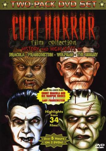 Cult Horror Film Collection - History and Highlights of Dracula, Frankenstein, Wolfman, the Mummy w/bonus films Dracula and His Vampire Brides, Lady Frankenstein, Highlights from 34 films Lady Frankenstein