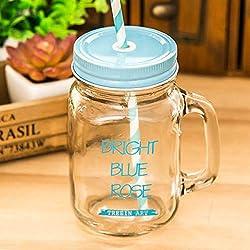 XTSHOP Mugs 450ml Tasse en Verre coloré Pot de maçon avec Couvercle et Paille Smoothie crème glacée Fruits Eau de Boisson Froide jarres Tasse de jus