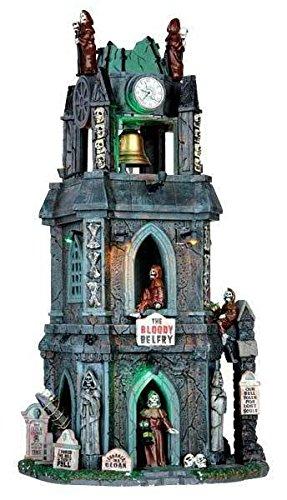 Lemax - The Bloody Belfry - Blutiger Glockenturm - 17cmx33,5cmx14cm - Animiertes Gebäude mit Sound - Porzellan - Halloween Village - Spooky Town - Dorf